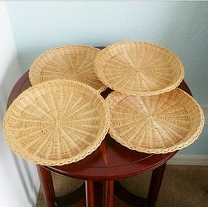 Boho Rattan Paper Plate Holders Wall Decor Set/4